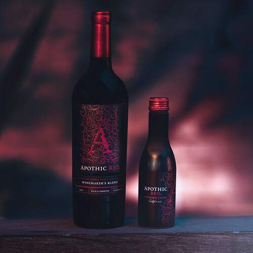 Apothic Red 750ml bottle and single serve