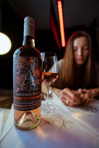 Apothic Rosé label designed by tattoo artist Sasha Masiuk